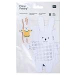 Carton à broder - Pingouin/chouette/lapin/ours - 8 pcs