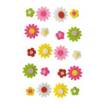 Autocollant feutrine Fleurs 20 pcs
