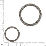 Anneau plat en métal argent  ø 37 mm