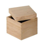 Boîte carrée en bois - 12 cm