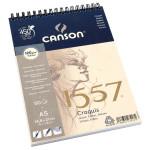 Canson 1557 grain léger 120g/m², bloc spiralé petit côté 14,9 x 21 cm