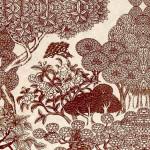 Papier Lokta Imprimé 50 x 75 cm Blanc motif Jungle