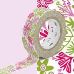 Masking Tape x Nordic countries Bength&Lotta Fleurs roses 15 mm x 10 m