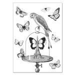 Carte double à colorier 12 x 17 cm Les papillons