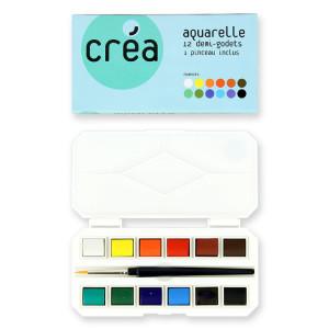 Aquarelle boîte de 12 demi-godets + pinceau