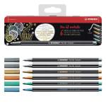 Feutre Pen 68 metallic Boîte métal 6 couleurs