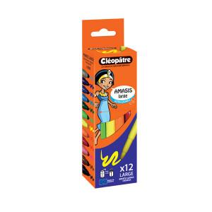 Feutres AMASIS larges boîte de 12 couleurs